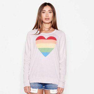 Sundry Rainbow Heart Sweater Pullover Sz M NWT